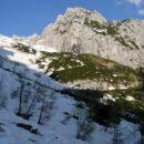 S smučmi sem se sprehodil po dolini Kot do Staničeve koče. Sneg se prične pri Studencu (13