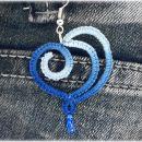 Lace viseči uhančki -Modro Srce-, čipka