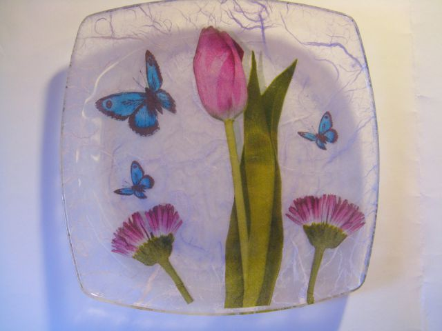 Pomladni steklen krožnik (servietna tehnika) 2012