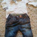 majčka z videzom strajčke in jeans hlače Zara