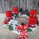 2-rdeč, sveče, sanke in mašnica