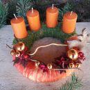 12-okrogel, oranžen trak, oranžne sveče