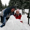 Z atijem sva naredila res lepega snežaka. Rogla, 5. 3. 2007