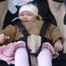 V svojem novem vozičku in novi jaknici na sprehodu v Šentjurju, 23. 4. 2006