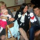 Popolna družba: Alenka, jaz, Mateja, Jure in krava.