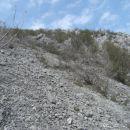 z vrha prvega grebena sem v rahlem spustu prečil široko melišče v smeri drugega grebena in