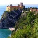 Devinski grad s privatno plažo od blizu, posneto z Rilkejeve steze