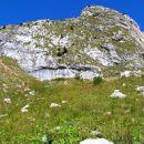 Travnata kotanja na pobočju Lemeža v kateri se steza izgubi...Možni sta dve varianti; pod
