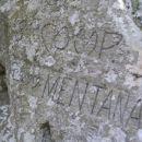Sveta gora - napis na sliki je vklesan v skali ob stopnišču, ki so ga zgradile italijanske