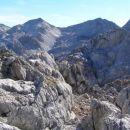 Pogled z Grive proti vzhodu; z leve proti desni si sledijo: Mali peski, Vrh nad peski in B