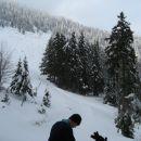 Lešanska planina leži severo - vzhodno pod vrhom Dobrče, pozimi raj za samotne smučarje, p