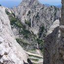 iz škrbine med Malo rinko in Tursko goro, mimo katere vodi označena pot čez Male pode na T
