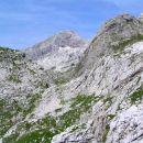 pogled od bivaka na Malih podih prek Velikega grebena na levi in Slemena na desni proti na