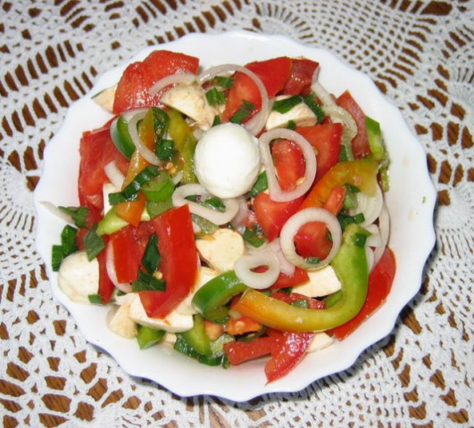 PARADIŽNIKOVA SOLATA Z MOZZARELLO  Sestavine: paradižnik, zelena paprika, mlada čebula,