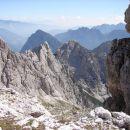 najvišja točka poti - Rabeljska krniška špica,pogled nazaj proti bivaku Gorizia
