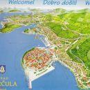 Skica mesta Korčula z vrisano potjo od trajektnega pristanišča Dominče do apartmajev