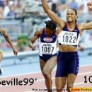 Seville 1999, winning the w.champ. for the second time (100m)!